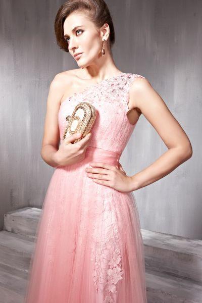one shoulder peach bridesmaid dresses