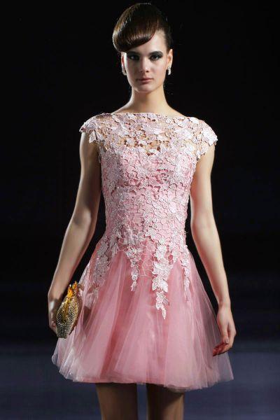 Vestido curto rosa e azul